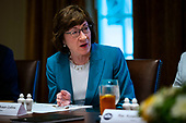 Senator Susan Collins a Republican from Maine, speaks during a lunch meeting with Republican lawmakers, in the Cabinet Room at the White House in Washington, D.C., U.S., on Tuesday, June 26, 2018. <br /> Credit: Al Drago / Pool via CNP