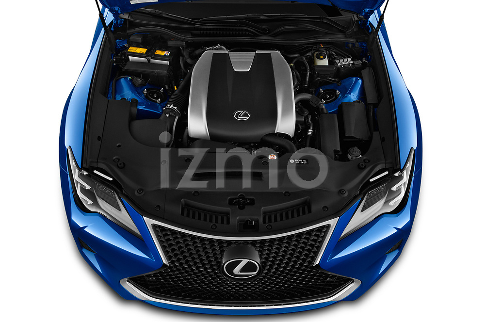 Car stock 2019 Lexus RC 350 2 Door Coupe engine high angle detail view