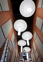 NWA Democrat-Gazette/DAVID GOTTSCHALK   Light fixtures above the entrance of the new Farmington High School Friday, July 14, 2017, in Farmington. Classes will be begin at the new school this August.