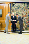 King Felipe VI of Spain (l) during an audience with CEO of Hogan Lovells Stephen J. Immelt and partner director of the office of Hogan Lovells in Madrid Lucas Osorio (r). July 12,2019. (ALTERPHOTOS/Francis Gonzalez)