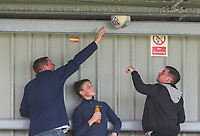 Accrington Stanley fans try to dislodge a football after it got stuck in the stand<br /> <br /> Photographer Alex Dodd/CameraSport<br /> <br /> The EFL Sky Bet League One - Fleetwood Town v Accrington Stanley - Saturday 15th September 2018  - Highbury Stadium - Fleetwood<br /> <br /> World Copyright &copy; 2018 CameraSport. All rights reserved. 43 Linden Ave. Countesthorpe. Leicester. England. LE8 5PG - Tel: +44 (0) 116 277 4147 - admin@camerasport.com - www.camerasport.com