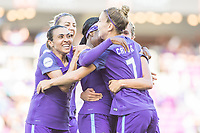 Orlando, FL - Sunday May 14, 2017: Marta and team celebrate goal. during a regular season National Women's Soccer League (NWSL) match between the Orlando Pride and the North Carolina Courage at Orlando City Stadium.