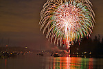 Vashon Island, WA<br /> Night view of Inner Quartermaster Harbor with fireworks, 4th of July