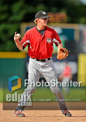19 July 2012: Tri-City ValleyCats infielder Jesse Wierzbicki warms up prior to a game against the Vermont Lake Monsters at Centennial Field in Burlington, Vermont. The ValleyCats defeated the Lake Monsters 6-3 in NY Penn League action. Mandatory Credit: Ed Wolfstein Photo