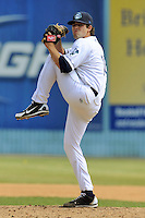 Asheville Tourists pitcher Russell Brewer #16 delivers a pitch during a game against the Lexington Legends at McCormick Field on May 6, 2012 in Asheville, North Carolina . The Tourists defeated the Legends 8-5. (Tony Farlow/Four Seam Images).
