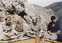 Iraq 1982 .In Nawzang, near Zahle, from left to right, Jalal Talabani, Salah Moutedi and Hatige Yachar  .Irak 1982 .A Nawzang, pres de Zahle, de gauche a droite,Jalal Talabani, Salah Moutedi et Hatige Yachar
