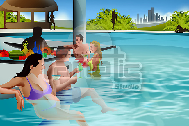 Couples enjoying drinks in a swimming pool