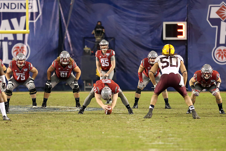 Zach Charme (95) prepares to punt during the National Funding Holiday Bowl game against the Minnesota Golden Gophers in San Diego, California, on December 27, 2016.