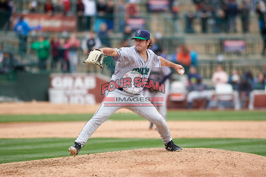 Cedar Rapids Kernels relief pitcher Zach Neff (9) during a Midwest League game against the South Bend Cubs at Four Winds Field on May 8, 2019 in South Bend, Indiana. South Bend defeated Cedar Rapids 2-1. (Zachary Lucy/Four Seam Images)