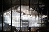 Roma 19-07-2016 Apertura in anteprima per la stampa del 'La Nuvola' ideata dall'architetto Massimiliano Fuksas. Per l'occasione l'opera e' stata illuminata per la prima volta con spettacolari proiezioni.<br /> Opening for the press and lighting of 'The Cloud', the new Eur Convention centre by the famous archistar Massimiliano Fuksas. The Cloud's history began 18 years ago, wen the project began, its construction started in 2008, but, due mainly to the huge cost of the opera, the project took almost 10 years to be realized.<br /> Photo Samantha Zucchi Insidefoto