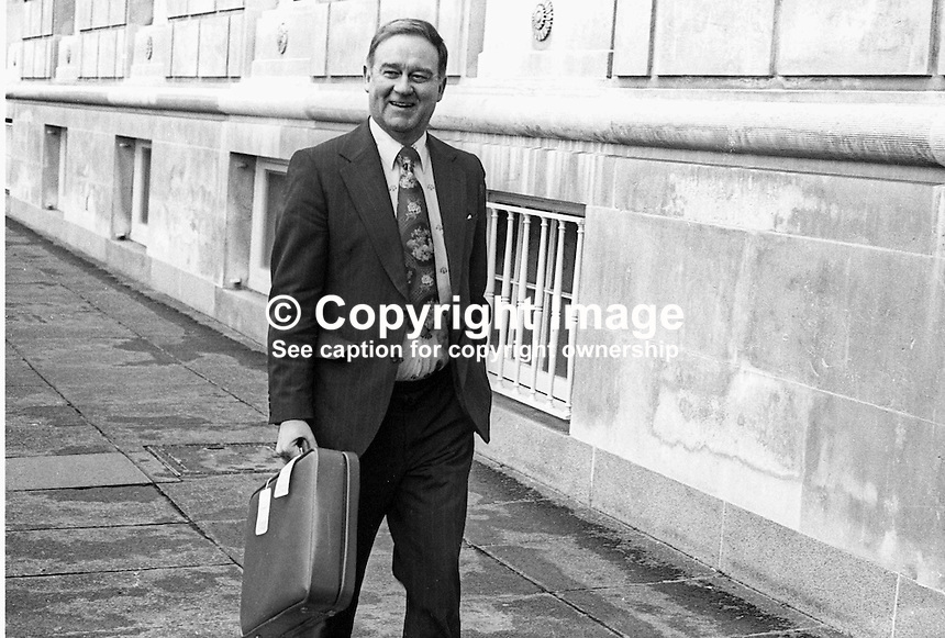 Wiliiam Craig, Ulster Unionist, member of the N Ireland Constitutional Convention arriving at Parliament Building, Stormont, Belfast, for first meeting of 1976. N Ireland Troubles. Ref: 1976020377.<br /> <br /> Copyright Image from Victor Patterson,<br /> 54 Dorchester Park, Belfast, UK, BT9 6RJ<br /> <br /> t1: +44 28 90661296<br /> t2: +44 28 90022446<br /> m: +44 7802 353836<br /> <br /> e1: victorpatterson@me.com<br /> e2: victorpatterson@gmail.com<br /> <br /> For my Terms and Conditions of Use go to<br /> www.victorpatterson.com