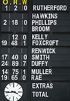 The scoreboard at the end of the first innings, with Nick Kelly's two no-ball's leaving a blank, during day two of the Plunket Shield cricket match between the Wellington Firebirds and Otago Volts at the Basin Reserve in Wellington, New Zealand on Tuesday, 22 October 2019. Photo: Dave Lintott / lintottphoto.co.nz