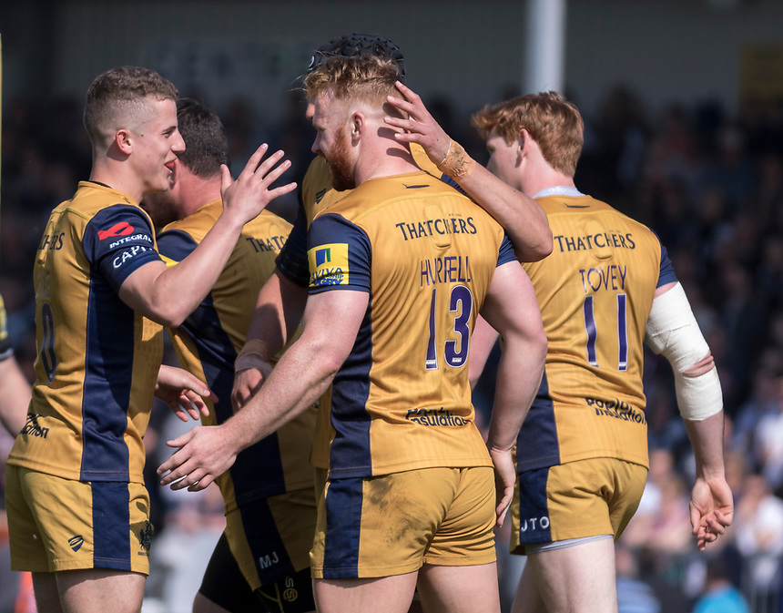 Bristol celebrate scoring there first try<br /> <br /> Photographer Bob Bradford/CameraSport<br /> <br /> Aviva Premiership - Exeter Chiefs v Bristol - Saturday 8th April 2017 - Sandy Park - Exeter<br /> <br /> World Copyright &copy; 2017 CameraSport. All rights reserved. 43 Linden Ave. Countesthorpe. Leicester. England. LE8 5PG - Tel: +44 (0) 116 277 4147 - admin@camerasport.com - www.camerasport.com