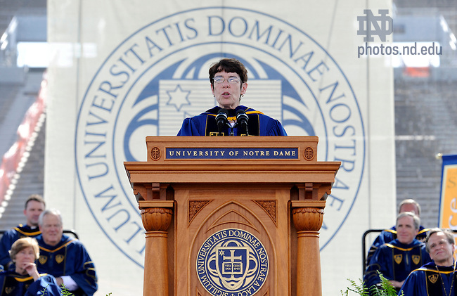 May 22, 2011; Sister Mary Scullion, R.S.M. speaks at the 2011 Notre Dame Commencement ceremony in Notre Dame Stadium. Scullion and Joan McConnon were awarded the Laetare Medal for their work as co-founders of Project H.O.M.E....Photo by Joe Raymond/University of Notre Dame