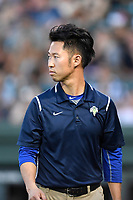 Trainer Kiyoshi Tada of the Greenville Drive in a game against the Columbia Fireflies on Wednesday, June 14, 2017, at Fluor Field at the West End in Greenville, South Carolina. Columbia won, 6-2, in 11 innings. (Tom Priddy/Four Seam Images)