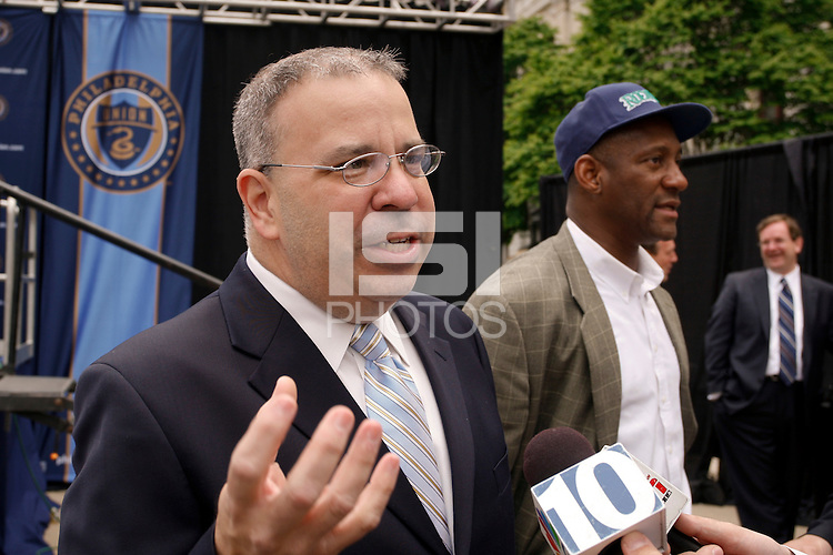 Thomas Veit, President of Keystone Sports and Entertainment during a press conference announcing the name of the Philadelphia MLS franchise as Philadelphia Union at City Hall in Philadelphia, PA, on May 11, 2009.