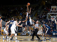 Richard Solomon of California tips off against UC Irvine during the game at Haas Pavilion in Berkeley, California on November 11th, 2011.  California defeated UC Irvine, 77-56.