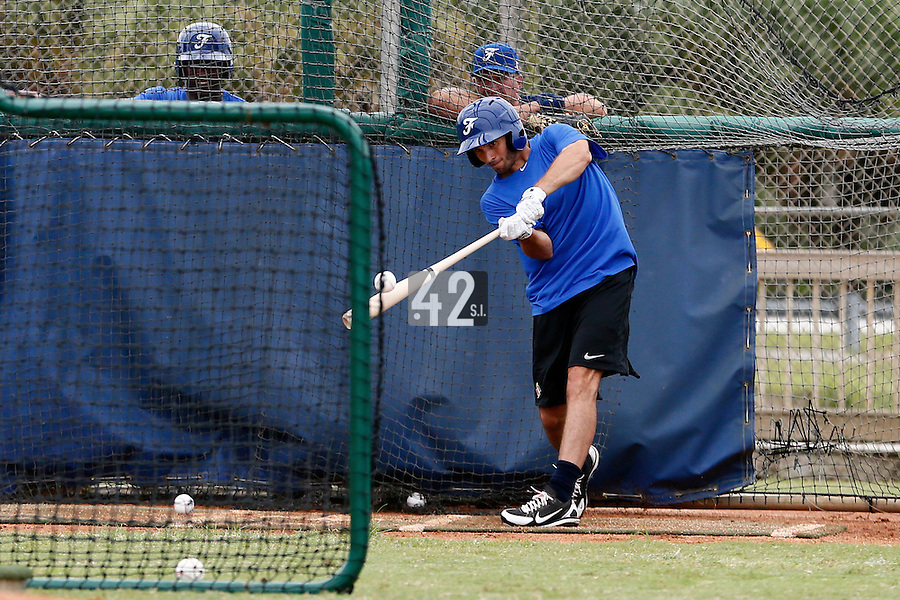 19 September 2012: France Andy Pitcher is seen during the batting practice prior to Team France friendly game won 6-3 against Palm Beach State College, during the 2012 World Baseball Classic Qualifier round, in Lake Worth, Florida, USA.