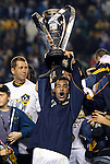 20 November 2011: Los Angeles' Juninho (BRA) holds the Philip F. Anschutz Trophy overhead. The Los Angeles Galaxy defeated the Houston Dynamo 1-0 at the Home Depot Center in Carson, CA in MLS Cup 2011, Major League Soccer's championship game.