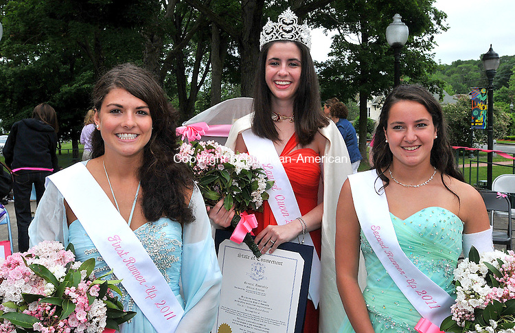 WINSTED CT, 12 JUNE 2011-061211JS04--The 2011 Laurel Queen Madison-Kelly  Peltier, center, poses with First Runner-Up Katelun Bailey, left and Second Runner-up Mallory Rotondo right, during ceremonies Sunday at East End Park in Winsted. <br /> Jim Shannon/Republican-American