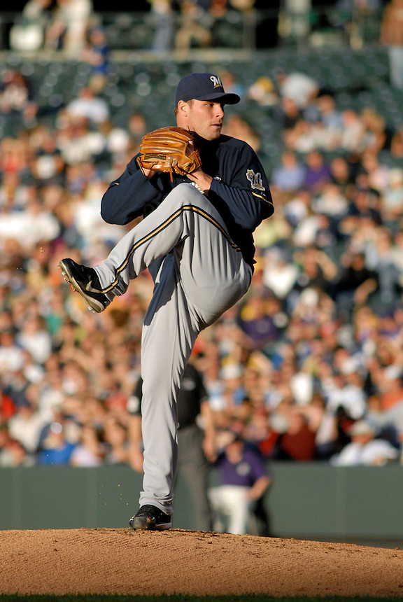 06 June 08: Milwuakee Brewers pitcher Ben Sheets winds up to deliver a pitch against the Colorado Rockies. The Rockies defeated the Brewers 6-4 at Coors Field in Denver, Colorado on June 6, 2008. For EDITORIAL use only