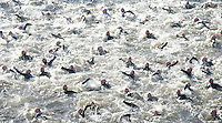 05 AUG 2007 - LONDON, UK - Age group wave swim start - London Triathlon. (PHOTO (C) NIGEL FARROW)