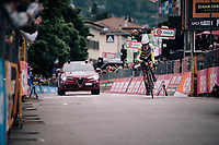 Rohan Dennis (AUS/BMC) crossing the finish line victoriously (winning the stage)<br /> <br /> stage 16: Trento &ndash; Rovereto iTT (34.2 km)<br /> 101th Giro d'Italia 2018