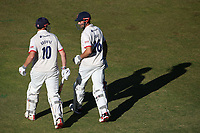 Nick Browne and Alastair Cook walk out to bat for Essex during Warwickshire CCC vs Essex CCC, Specsavers County Championship Division 1 Cricket at Edgbaston Stadium on 11th September 2019