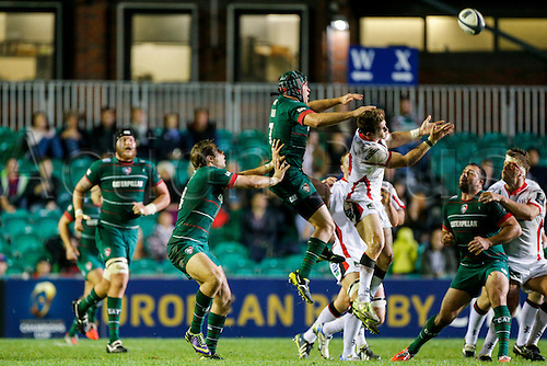 18.10.2014.  Leicester, England.  European Rugby Champions Cup. Leicester Tigers versus Ulster. Julian Salvi of Leicester Tigers and Craig Gilroy of Ulster Rugby compete for a high ball.   Final score: Leicester Tigers 25-18 Ulster Rugby.
