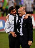 Calcio, finale Tim Cup: Juventus vs Lazio. Roma, stadio Olimpico, 20 maggio 2015.<br /> Juventus' president Andrea Agnelli, left, and CEO Giuseppe Marotta celebrate at the end of the Italian Cup final football match between Juventus and Lazio at Rome's Olympic stadium, 20 May 2015. Juventus won 2-1 after extra time.<br /> UPDATE IMAGES PRESS/Isabella Bonotto