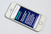 SÃO PAULO, SP, 27.06.2016 - PROUNI 2016- SP - Resultado da 2ª chamada do Prouni 2/2016 sai nesta segunda-feira e candidato pode baixar aplicativo, para consulta em smartphone, que está disponibilizado na página eletrônica siteprouni.mec.gov.br . Imagem da página eletrônica do MEC com informações do PROUNI, nesta manhã de segunda-feira (27). (Foto: Adailton Damasceno/Brazil Photo Press)