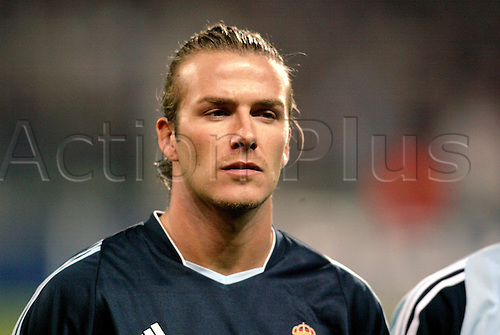26 November, 2003: Portrait DAVID BECKHAM in the line-up before the UEFA Champions League Group F game against Marseille at Velodrome. Marseille 1 v REAL  MADRID 2 Photo: Glyn Kirk/action plus<br />
