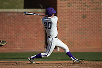 Ryan Mason (20) of the High Point Panthers follows through on his swing against the NJIT Highlanders at Williard Stadium on February 19, 2017 in High Point, North Carolina. The Panthers defeated the Highlanders 6-5. (Brian Westerholt/Four Seam Images)