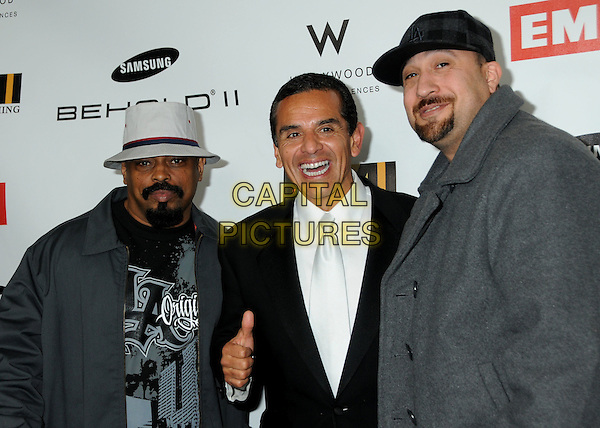CYPRESS HILL - Sen Dog and B-Real & ANTONIO VILLARAIGOSA, Mayor of Los Angeles.EMI Post Grammy Party 2010 held at the W Hollywood Hotel, Hollywood, California, USA, 31st January 2010..half length grey gray hat hand gesture thumb up cap coat jacket goatee facial hair white shirt tie black suit jacket grammys .CAP/ADM/BP.©Byron Purvis/Admedia/Capital Pictures