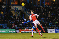 Wes Burns of Fleetwood Town heads goal wards during the Sky Bet League 1 match between Gillingham and Fleetwood Town at the MEMS Priestfield Stadium, Gillingham, England on 27 January 2018. Photo by David Horn.