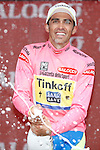 24/05/2015, Madonna di Campiglio - Giro d'Italia 2015 - Cycling road race - Individual Time Trial<br /> Alberto Contador Velasco (Spa) at the podium of Tour of Italy, stage 15th, of 165 km on 24/05/2015 in Madonna di Campiglio, Italy. Alberto Contador Velasco (Spa) from Tinkoff-Saxo remains leader with the pink jersey.