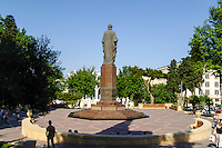 Azerbaijan, Baku. Nizami Park and statue in central Baku.