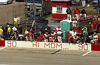 hi mom pit road sign pits Winston 500 at Talladega Superspeedway in Talladega , AL in May 1989.  (Photo by Brian Cleary/www.bcpix.com)