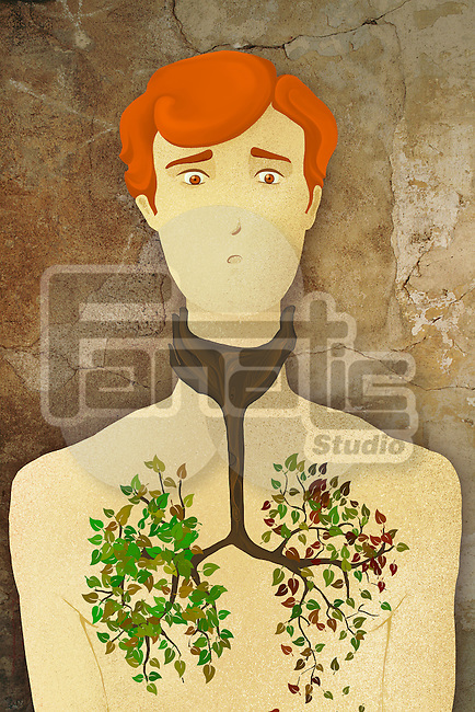 Illustrative concept of man tree growing in chest representing lung cancer