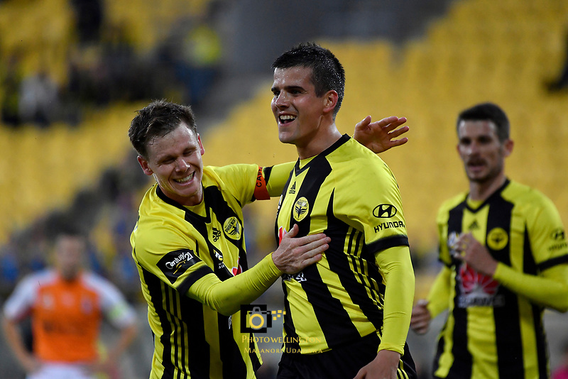 Wellington Phoenix' Andrija Kaluderovic and Wellington Phoenix' Michael McGlinchey in action during the A League - Wellington Phoenix v Brisbane Roar FC at Westpac Stadium, Wellington, New Zealand on Saturday 28 October.<br /> Photo by Masanori Udagawa. <br /> www.photowellington.photoshelter.com