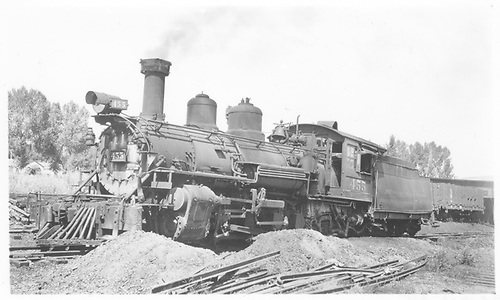 3/4 view of K-27 #455 at Ridgway.<br /> RGS  Ridgway, CO  Taken by Winters, Charles E. - 8/16/1940