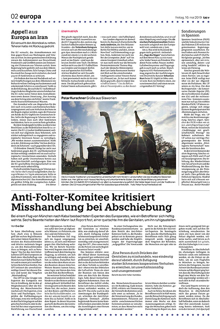 die tageszeitung taz (German daily) citing our photographers' views of the new European Parliament's agenda. Countryside Croatia, 05.2019.<br /> Photo: Petar Kurschner