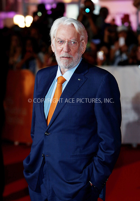 WWW.ACEPIXS.COM<br /> <br /> September 15 2015, Toronto<br /> <br /> Actor Donald Sutherland attends the premiere of Forsaken at the 40th Toronto International Film Festival, TIFF, at the Roy Thomson Hall on September 15 2015 in Toronto, Canada<br /> <br /> By Line: Famous/ACE Pictures<br /> <br /> <br /> ACE Pictures, Inc.<br /> tel: 646 769 0430<br /> Email: info@acepixs.com<br /> www.acepixs.com