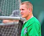24 July 2010: Vermont Lake Monsters visitor Taylor Sanagorski (Paul's Sanagorski son) awaits his turn in the batting cage prior to a game against the Lowell Spinners at Centennial Field in Burlington, Vermont. The Lake Monsters fell to the Spinners 11-5 in NY Penn League action. Mandatory Credit: Ed Wolfstein Photo