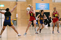 05.10.2012 Tasman's Kate Parsons in action during the netball match between Tasman and Eastern at the Lion Foundation Netball Champs in Tauranga. Mandatory Photo Credit ©Michael Bradley.