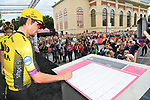 Primoz Roglic (SLO) Team Jumbo-Visma at sign on before Stage 15 of the 2019 Giro d'Italia, running 232km from Ivrea to Como, Italy. 26th May 2019<br /> Picture: Gian Mattia D'Alberto/LaPresse | Cyclefile<br /> <br /> All photos usage must carry mandatory copyright credit (© Cyclefile | Gian Mattia D'Alberto/LaPresse)