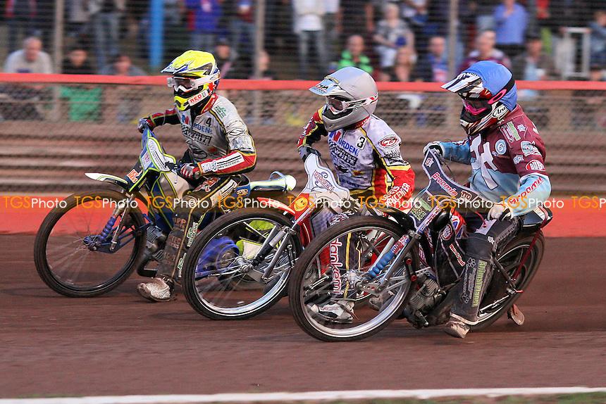 Heat 3: Jesper Monberg (white), Rob Mear (blue) and Simon Stead (yellow) - Lakeside Hammers vs Swindon Robins - Elite League Speedway at Arena Essex Raceway - 12/08/11 - MANDATORY CREDIT: Gavin Ellis/TGSPHOTO - Self billing applies where appropriate - 0845 094 6026 - contact@tgsphoto.co.uk - NO UNPAID USE.