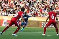 Lucas Moura of Tottenham scores the first goal during Girona FC vs Tottenham Hotspur, Friendly Match Football at Estadi Montilivi on 4th August 2018