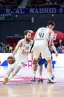 Real Madrid's Sergio Rodríguez and Willy Hernangómez during Euroleague match at Barclaycard Center in Madrid. April 07, 2016. (ALTERPHOTOS/Borja B.Hojas) /NortePhoto
