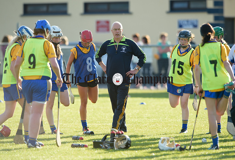 Manager Colm Honan during the Clare Senior Camogie team's Open Training Night in Sixmilebridge. Photograph by John Kelly.